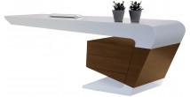 Bureau design laqué blanc 2 tiroirs noyer