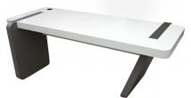 5567 - Bureau design laqué blanc gris ardoise pied oblique