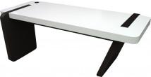 5568 - Bureau design laqué blanc noir pied oblique
