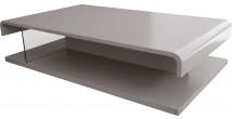 5571 - Table basse design double plateau laque gris platine