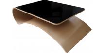 5572 - Table basse design courbée laque taupe plateau verre noir
