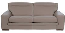 7607 - Canapé 3 places cuir taupe coutures contrastées Firenze