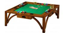 8501 - Table basse de poker carrée 4 tiroirs merisier