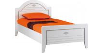 9095 - Lit blanc 90 x 190 dossier haut dôme