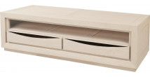 Banc TV chêne massif blanc pierre 1 niche 2 tiroirs