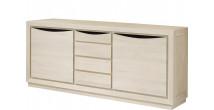 Buffet 2 portes chêne massif blanc pierre 4 tiroirs