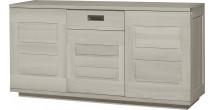 Buffet AMBRE chêne massif gris argent 3 portes coulissantes 1 tiroir