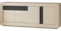 Buffet chêne blanchi 4 portes 1 tiroir décors verre anthracite