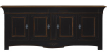 Buffet chêne massif 4 portes 3 tiroirs teinté noir et chêne
