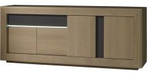 Buffet chêne taupe 4 portes 1 tiroir décors verre anthracite