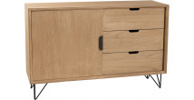 Buffet paulownia 1 porte 3 tiroirs pieds métal