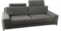 Canapé 2 places microfibre gris 2 tétières