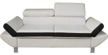 Canapé 2 places simili cuir blanc et noir têtières réglables