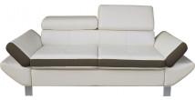 Canapé 3 places simili cuir blanc et taupe têtières réglables