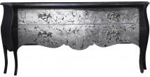 Commode galbés noir 2 tiroirs feuilles d'argent brisée