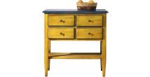 Console rectangulaire double plateau jaune et bleu 4 tiroirs