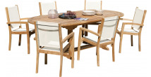 Ensemble table ovale L180 6 fauteuils textilène teck grade A