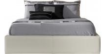 Lit design 180x200 simili cuir blanc