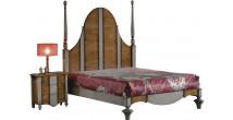 Lit gothique 160x200 merisier massif patiné gris tête de lit haute