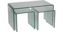 Lot de 3 tables basse verre trempé courbé