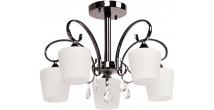 Lustre en métal nickel et verre blanc 5 ampoules – MEGAPOLIS