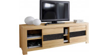 Meuble TV portes coulissante chêne naturel céramique