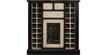 Meuble bar cave à vins noir crème 36 cases 1 porte 3 tiroirs