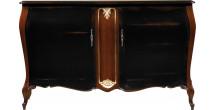 Meuble bar hêtre laque noir pieds galbés 1 range bouteille 2 portes