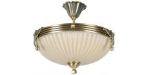 Plafonnier en métal laitonné antique et verre blanc 3 ampoules – CLASSIC
