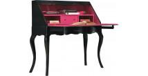 Secrétaire chêne massif 1 abattant 1 tiroir teinté noir et rose