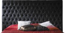 Tête de lit capitonnée étoffée velours noir pour lit 180