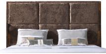 Tête de lit étoffée velours chocolat pour lit 140
