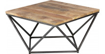Table basse carrée acier plateau palissandre vieillie