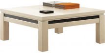 Table basse carrée chêne blanchi décor verre noir