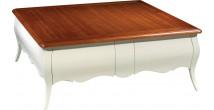 Table basse carrée hêtre laque blanc plateau naturel pieds galbés