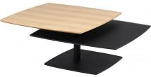 Table basse carrée modulable acier noir mat plateau verre