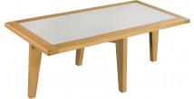 Table basse chêne massif clair plateau verre blanc