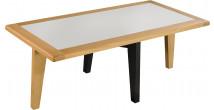 Table basse chêne massif clair plateau verre blanc pieds noir