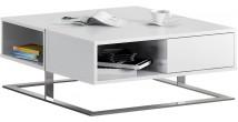 Table basse design carrée laque blanc 2 tiroirs pieds inox