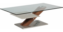 Table basse design verre trempé double plateau pied noyer