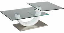 Table basse design verre trempé plateau pivotant pied laqué blanc