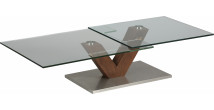 Table basse design verre trempé plateau pivotant pied noyer