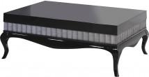 Table basse hêtre laque noir moulures décorative sur les côtés pieds galbés