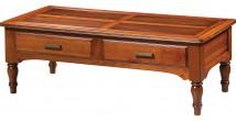 Table basse merisier naturel 2 tiroirs pieds tournés