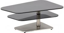 Table basse modulable acier noir mat plateau verre fumé gris
