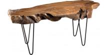 Table basse plateau teck forme naturelle pieds épingles scandi acier noir