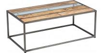 Table basse rectangulaire acier plateau palissandre vieilli