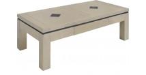 Table basse rectangulaire chêne massif taupe 1 tiroir décors ardoise