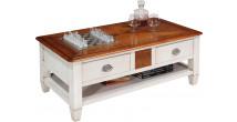 Table basse rectangulaire laquée blanche 2 tiroirs 2 tirettes