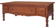 Table basse rectangulaire merisier massif 3 tiroirs 2 tirettes